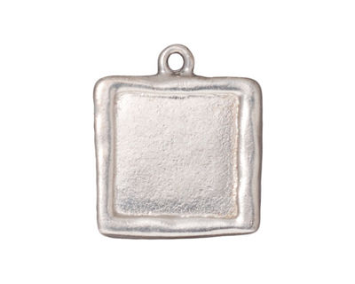 TierraCast Rhodium (plated) Large Square Frame Drop 21x25mm