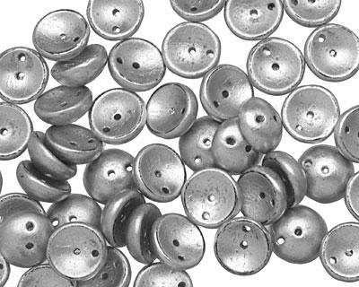 Czech Glass Matte Silver 2-Hole Piggy Bead 8mm