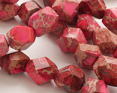 Ruby Impression Jasper Faceted Nugget 16-20x12-16mm