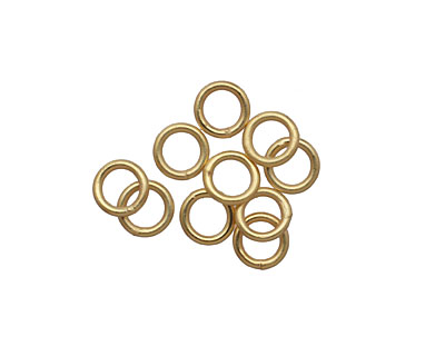 Satin Hamilton Gold (plated) Soldered Jump Ring 6mm, 18 gauge