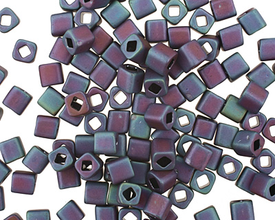TOHO Matte Frosted Iris Blue Cube 4mm Seed Bead