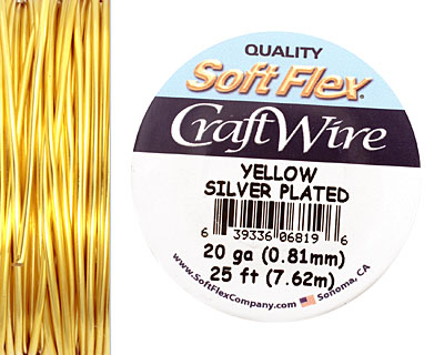 Soft Flex Silver Plated Yellow Craft Wire 20 gauge, 25 ft