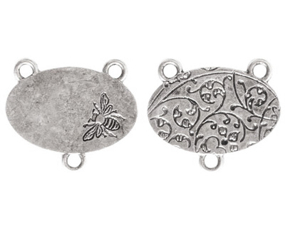 Nunn Design Antique Silver (plated) Large Oval Bee 2-1 Connector 22x25mm