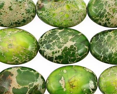 Green Impression Jasper Flat Oval 18x13mm