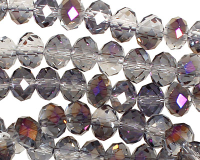 Purple & Clear AB Crystal Faceted Rondelle 8mm