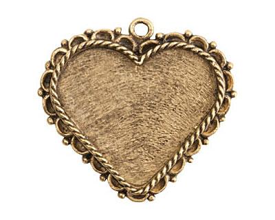Nunn Design Antique Gold (plated) Large Ornate Heart Bezel Pendant 40x37mm