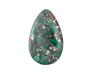Malachite & Pyrite Teardrop Pendant 30x48mm