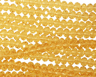 Amber Crystal Faceted Rondelle 4mm