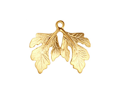 Ezel Findings Gold (plated) Twin Fig Leaves Pendant 23x19mm