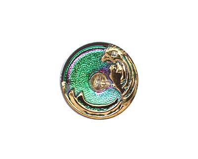 Czech Glass Pink & Green w/ Gold Phoenix Button 18mm