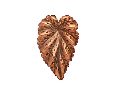 Stampt Antique Copper (plated) Large Leaf 20x32mm (no drill hole)