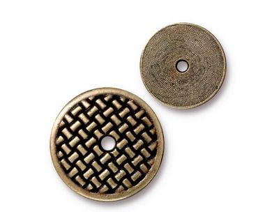 TierraCast Antique Brass (plated) Woven Disk 18mm