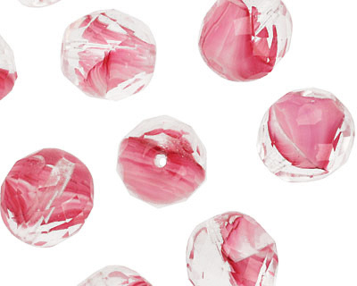 Czech Fire Polished Glass Pink Givre Round 12mm