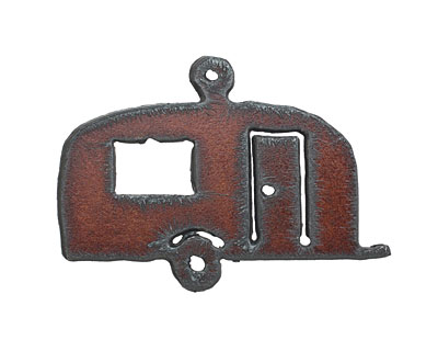 The Lipstick Ranch Rusted Iron Happy Camper Pendant 65x46mm
