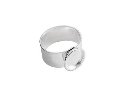 Nunn Design Sterling Silver (plated) Small Circle Frame Adjustable Ring 13mm