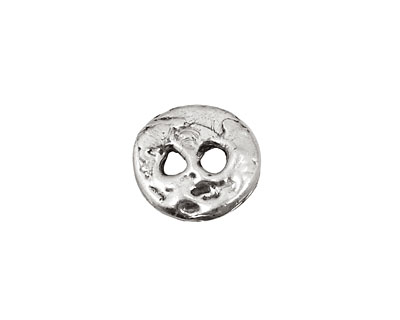 Rustic Charms Sterling Silver 2-Hole Button 15x13mm
