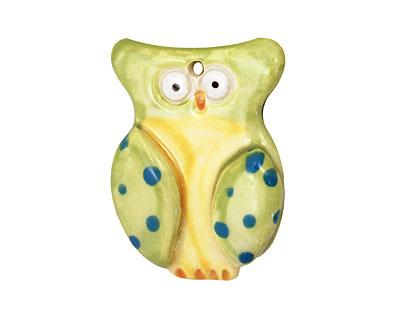 Jangles Ceramic Lime Owl Pendant 35x45mm