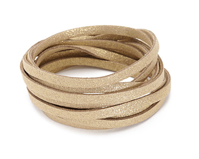 Gold Metallic Microsuede Flat Cord 5mm