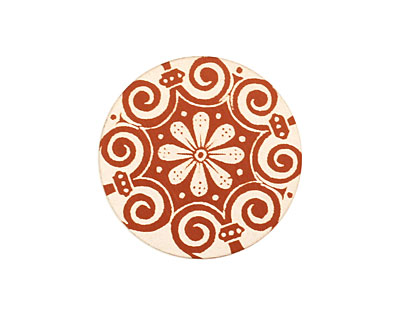 Lillypilly Bronze Scrolling Daisy Anodized Aluminum Disc 25mm, 24 gauge