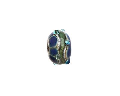 Grace Lampwork Deep Blue Ocean Rondelle 9x14mm