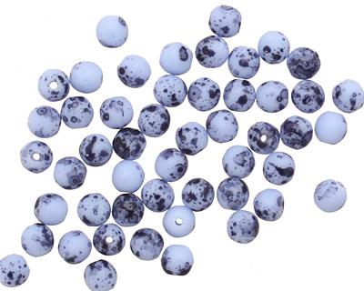 Czech Glass Matte Blue Dalmatian Round Druk 4mm