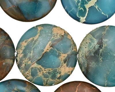 Turquoise Impression Jasper Puff Coin 25mm