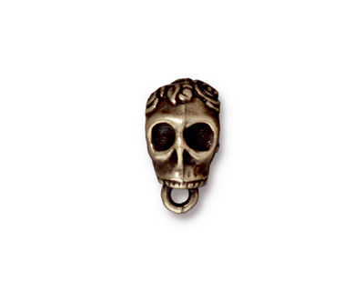 TierraCast Antique Brass (plated) .25 ID Skull Bail 8x12mm