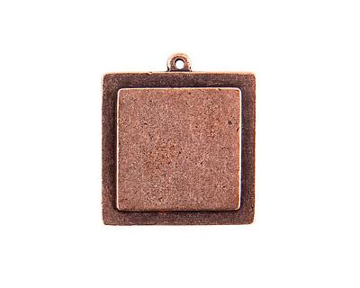 Nunn Design Antique Copper (plated) Raised Tag Small Square Pendant 30x33mm