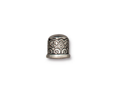TierraCast Antique Silver (plated) Temple 6mm Cord End 9x9mm
