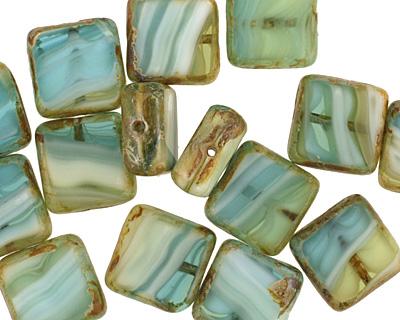 Czech Glass Peruvian Opal Square 10mm