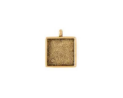 Nunn Design Antique Gold (plated) Small Square Bezel Pendant 18x26mm
