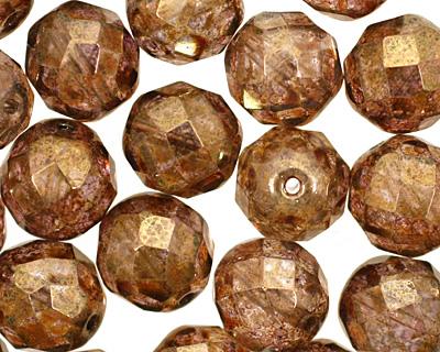 Czech Fire Polished Glass Luster Transparent Gold/Smoky Topaz Round 12mm