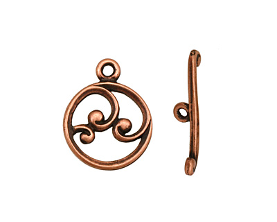 Antique Copper (plated) Circle w/ Swirls Toggle Clasp 18x15mm, 21mm bar