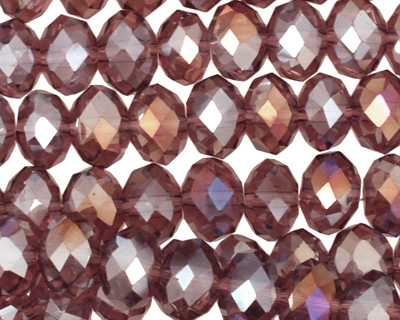 Raspberry Mocha AB Crystal Faceted Rondelle 10mm