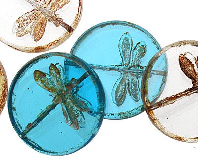Czech Glass Windowpane Dragonfly Coin 23mm