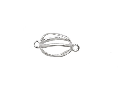 Amoracast Sterling Silver Abstract Cage Connector 13x9mm