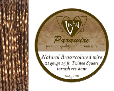 Vintaj Natural Brass Twisted Square Parawire 21 gauge, 15 feet