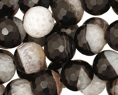 Black Sardonyx Faceted Round 12mm