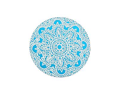 Lillypilly Turquoise Lace Anodized Aluminum Disc 25mm, 24 gauge