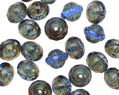 Czech Glass Sapphire Picasso UFO 7x9mm