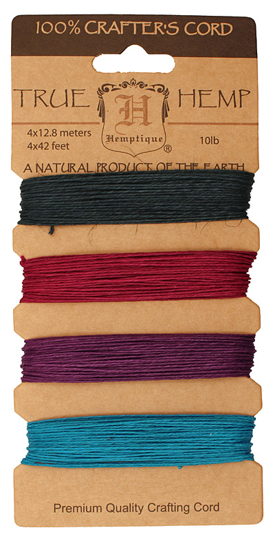 Shades of Party Hemp Twine 10 lb, 42 ft x 4 colors
