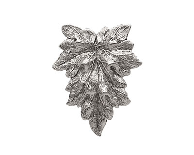 Stampt Antique Pewter (plated) Textured Leaf 25x31mm (no drill hole)