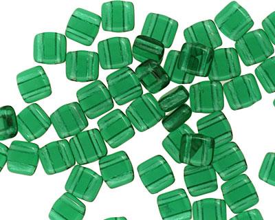 CzechMates Glass Green Emerald 2-Hole Tile 6mm