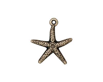 TierraCast Antique Brass (plated) Starfish Charm 17x20mm