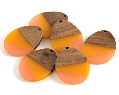 Walnut Wood & Sunrise Resin Teardrop Focal 28x37mm