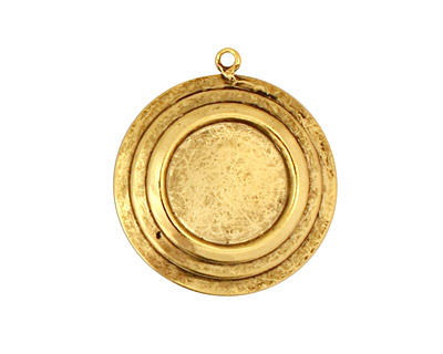 Stampt Antique Gold (plated) Stacked Circles Round Setting 13mm