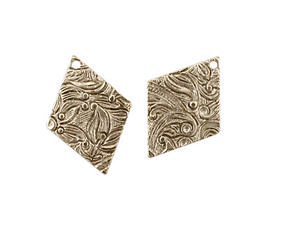 Stampt Antique Pewter (plated) Floral Embossed Diamond 15x20mm