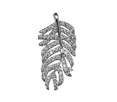 Sterling Silver & CZ Micro Pave Feather Pendant 17x33mm