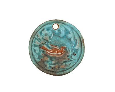 Kylie Parry Ceramic Rustic Aqua Nesting Pendant 30mm