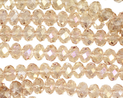Sand AB Crystal Faceted Rondelle 6mm
